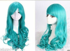 Women 60cm long Dark Turquoise blue body Wavy Cosplay party Wig