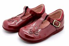 Startrite Infant Girls UK 5 E Narrow Berry Patent Leather T Bar Butterfly Shoes