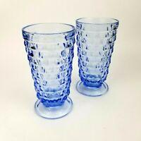 Set of 2 Vintage Blue Glass Whitehall Cube Cubist Pattern Tumblers