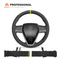 MEWANT Black Suede Car Steering Wheel Cover for Toyota Camry Corolla RAV4