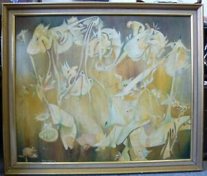Original Psychedelic Oil Abstract Painting Huge signed Tony Cusack 1969 1960's