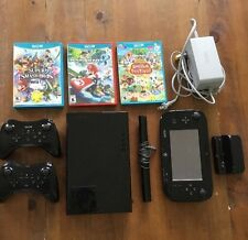 Nintendo Wii U Deluxe 32 GB Black Console Bundle 2 Controllers And Three Games