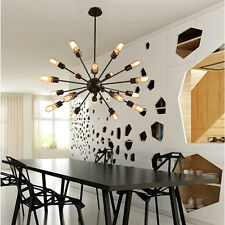 Large Chandelier Lighting Black Metal Pendant Light Bar Ceiling Lights LED Lamp