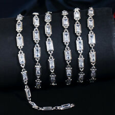50cm Baguette CZ DIY Jewelry Making Tennis Necklace Anklet Bracelet Link Chain