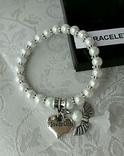 Flower Girl Bracelet With Charm & Angel / Wedding / Gift / Keepsake