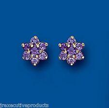 Amethyst Earrings Cluster Studs Amethyst Studs Yellow Gold Amethyst Earrings 8mm