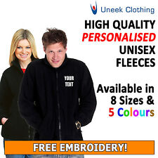 Personalised Embroidered Full Zip Up Fleece, Customised Workwear, Uneek UC604