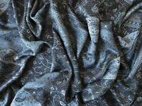 Iridescent Silk in Black and Gray Jamavar Wrap from India Paisley Shawl Pashmina