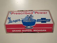 "1960's BERGER CHEVROLET PRESCRIBED POWER GRAND RAPIDS MICHIGAN LOGO DECAL 7"" NEW"