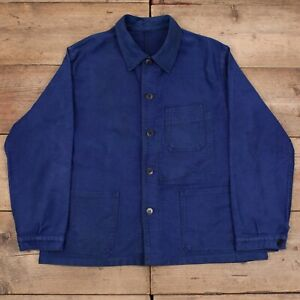 Mens Vintage Navy Blue French Moleskin Workwear Utility Chore Jacket L R20551