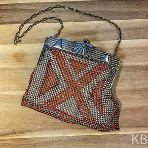 Antique Vintage Whiting & Davis Mesh Purse Bag Handbag Enamel Art Deco Design