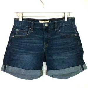 "Gap 5"" inseam cuffed shorts dark wash blue denim size 24 00 regular"