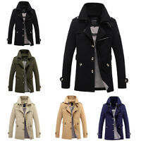 Stylish Winter Mens Trench Coat Slim Casual Jacket Peacoat Long Overcoat Outwear