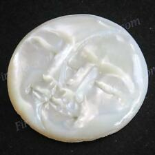 """7/8"""" MOON AND SUN FACE CLOSED EYES MOTHER OF PEARL CARVING BEAD CAB cabochon"""