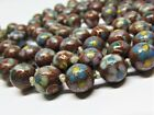 Antique Chinese CLOISONNE Enamel Red Floral Hand Knotted Bead Necklace 31  Long
