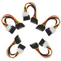 5pcs S-ATA Y-Stromkabel 2x 4pin Stecker an 15pin Buchse Molex SATA Strom Adapter
