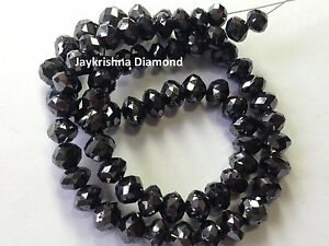 """200 CT Rare Natural Loose Black Faceted Round Diamond Beads 16"""" Strand Necklace"""
