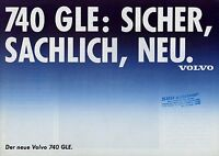 Volvo 740 GLE Prospekt 80er J. Autoprospekt Broschüre Auto Pkw broschyr brosjyre