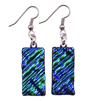 "Dichroic Glass Earrings Emerald Green Ripple Texture 1"" Dangle Surgical Wire"