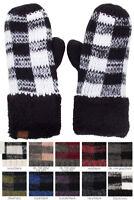 Jinscloset CC Buffalo Check Plaid Pattern Fuzzy Fleece Inside Warm Winter Glove