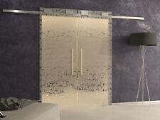porta scorrevole vetro temperato esterno muro doppia binario softclose decorata