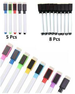 8/5/2/1 Magnetic White Board Black Marker Pens Dry Eraser Easy Wipe Whiteboard