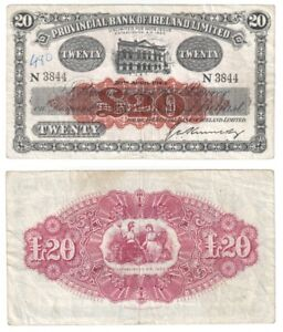 Provincial Bank of Ireland Ltd £20 Banknote (1943) BYB ref: NI.731b - F+.