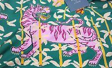 DRAKES x J.CREW Green Pink Cat Bengal Tiger Print 100% Silk Scarf NWT
