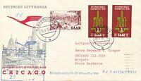 SAARLAND 1956 Mitläuferpost Erstflug Lufthansa LH432 FRANKFURT-CHICAGO/MONTREAL