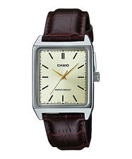Casio MTP-V007L-9E Men's Rectangular leather Strap Gold Dial Analog Dress Watch