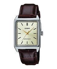 Casio MTP-V007L-9E Men's Rectangular leather Strap Gold Dial Analog Dress Watch