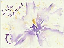 "New listing ART ORIGINAL WC&INK MINI Etegami Style ""Life Renews""  by Barbara J. Twist-Ranous"