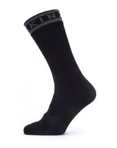 SealSkinz Waterproof Warm Weather Mid Length Socks + Hydrostop - Black / Grey