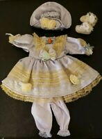 "Doll Clothes 16"" Porcelain Dress Shoes Hat Socks Pantaloons Clothing Lt Blue NEW"