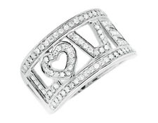 10K White Gold LOVE Spell Words Initials Genuine Diamond Band Ring 0.75ct.