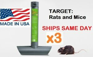 3 x RAT MOUSE MICE RODENT SELF FEEDING TOP LOAD TUBE BAIT STATION Lockable Trap