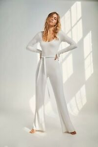 NEW FREE PEOPLE MOVEMENT Sz S BLISSED OUT FLARE LEG RIBBED ONE PIECE JUMPSUIT