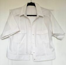 "NEW ""Karen Millen"" White Jacket Style Shirt, Size 16, Short Sleeves, Stretch"