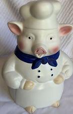 Hometrends Gkao Chef Baker Pig with Blue Kerchief Ceramic Cookie Jar