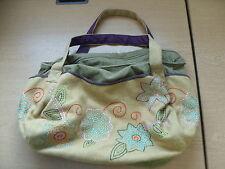 "Señoras bolso de mano Lana/Pana Verde, bordado floral, Suave Bolso 17x10x10"", 3266"