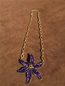 Kenneth Jay Lane KJL Purple Enamel Crystal Bonaire Lily Flower Necklace W/ Chain