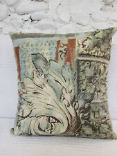 Cushion Cover, Abstract, Etching, Script, Tan, Beige, Browns, Blues, Turquoise.