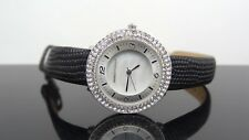 Dana Buchman DB1029KOL Crystals Black Leather Band Silver Tone Women's Watch
