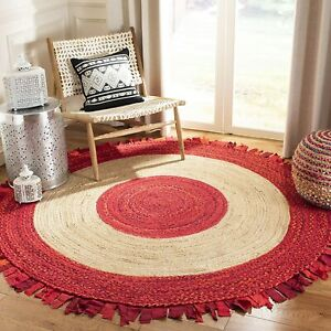 Rug 100% Natural Jute & Cotton Reversible handmade carpet rustic look area rugs