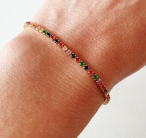 Gold Dainty Rainbow CZ Crystal Friendship Bracelet Other Bloggers...