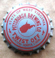 WEST VIRGINIA TAX Red Beer CROWN Bottle Cap, TWIST OFF, Pittsburgh, PENNSYLVANIA