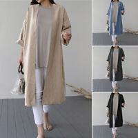 ZANZEA Women Open Front Cardigan Causal Plain Jacket Coat Outwear Long Tops Plus