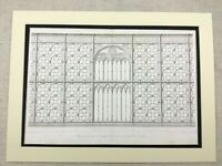 1857 Antique Architectural Print Basilica of Santa Croce Florence LARGE