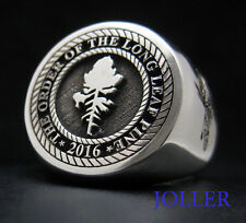 SIGNET RING ROUND LARGE 17MM CUSTOM ENGRAVED FAMILY CREST SILVER 925 BY JOLLER