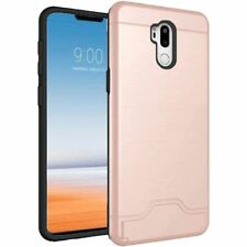 For LG G7 ThinQ Bottom Card Holder Brushed Metal Hybrid Phone Case - Rose Gold